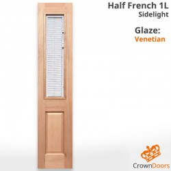 Half French 1L Solid Timber Sidelight with Venetian