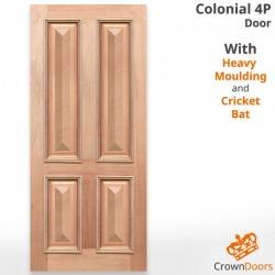 Colonial 4P Solid Timber Joinery Door with Heavy Moulding and Cricket Bat