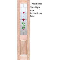 Traditional Solid Timber Sidelight with Double Orchid Frost