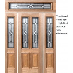 Traditional HMCB + Side-light HMCB + High-light HM with 6-Diamond Solid Timber Joinery Doors